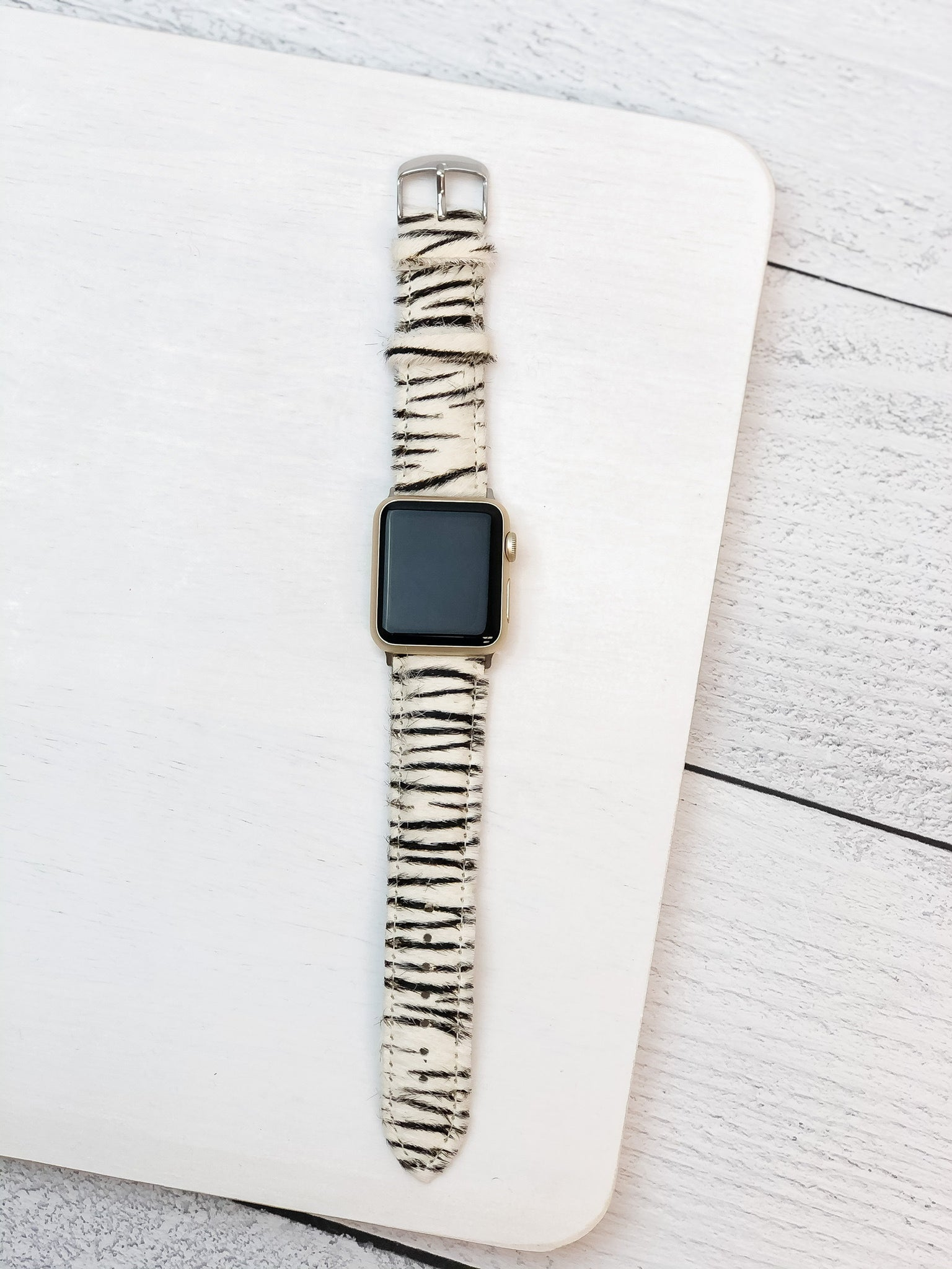 Zebra Textured Leather Smart Watch Band