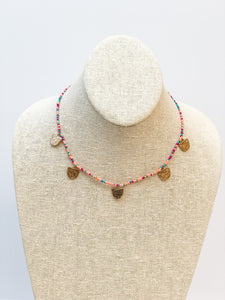 Beaded Disc Necklace - Coral