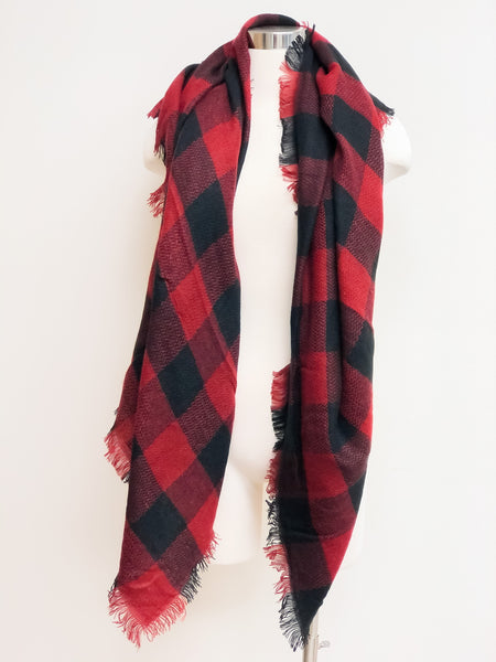 Buffalo Check Blanket Scarf - Red/Black