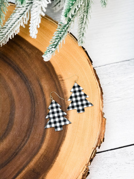 Buffalo Check Tree Dangle Earrings