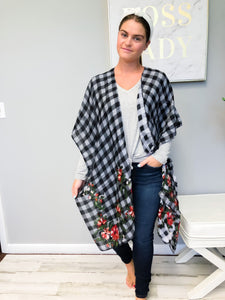 Black and White Floral Checkered Kimono
