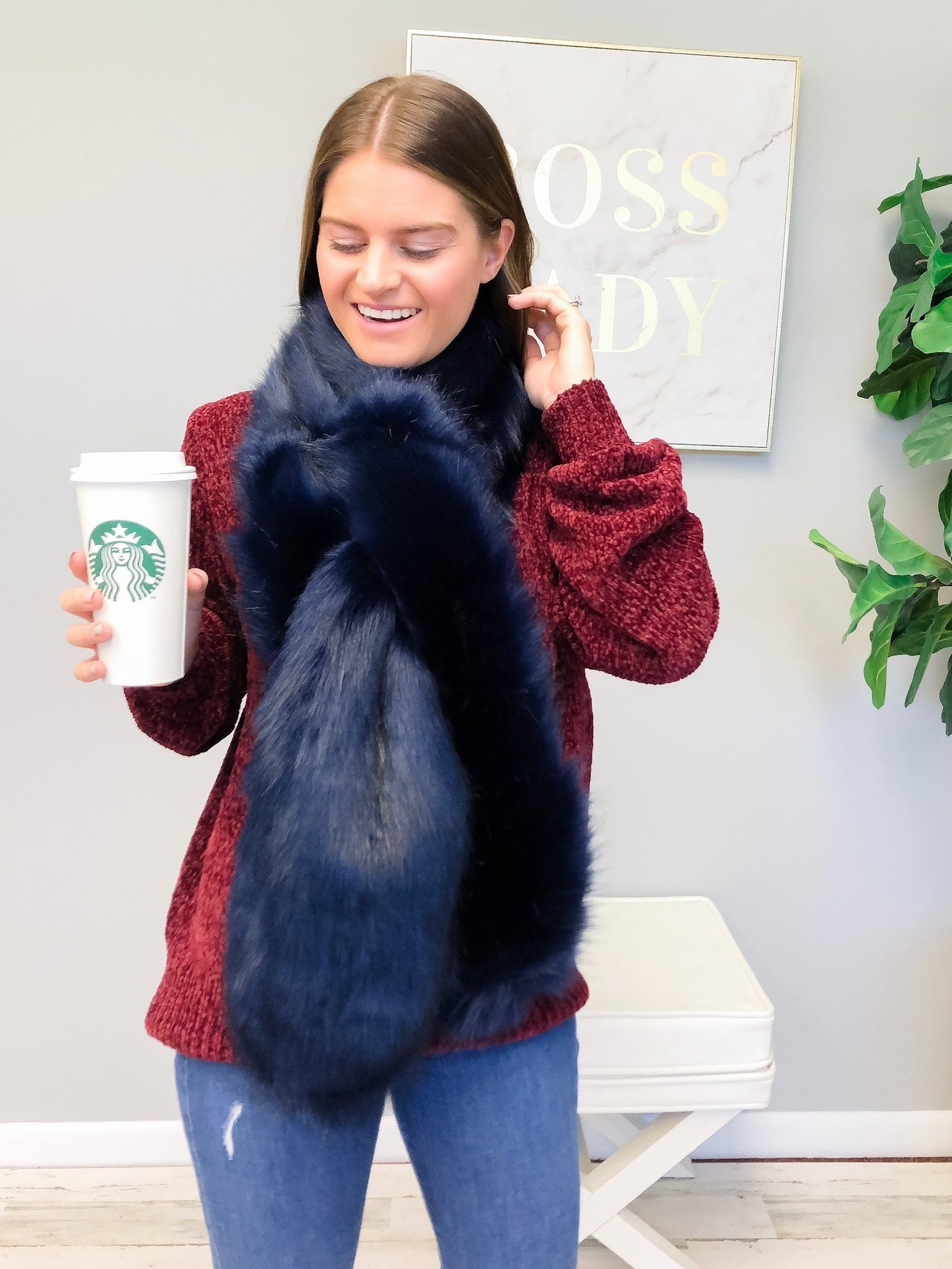 Faux Fur Pull Through Collar Scarf - Navy Blue