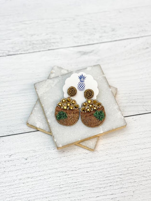 Pot of Gold Beaded Statement Earrings