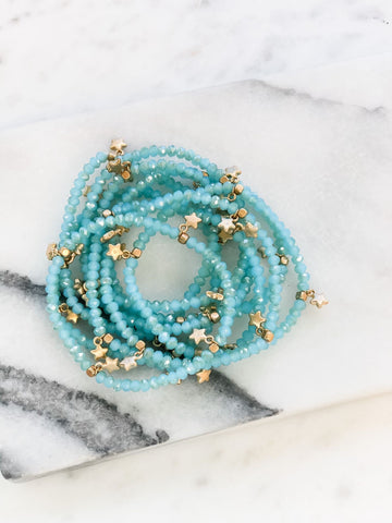 Glass Beaded Star Bracelet Stack - Ocean Blue