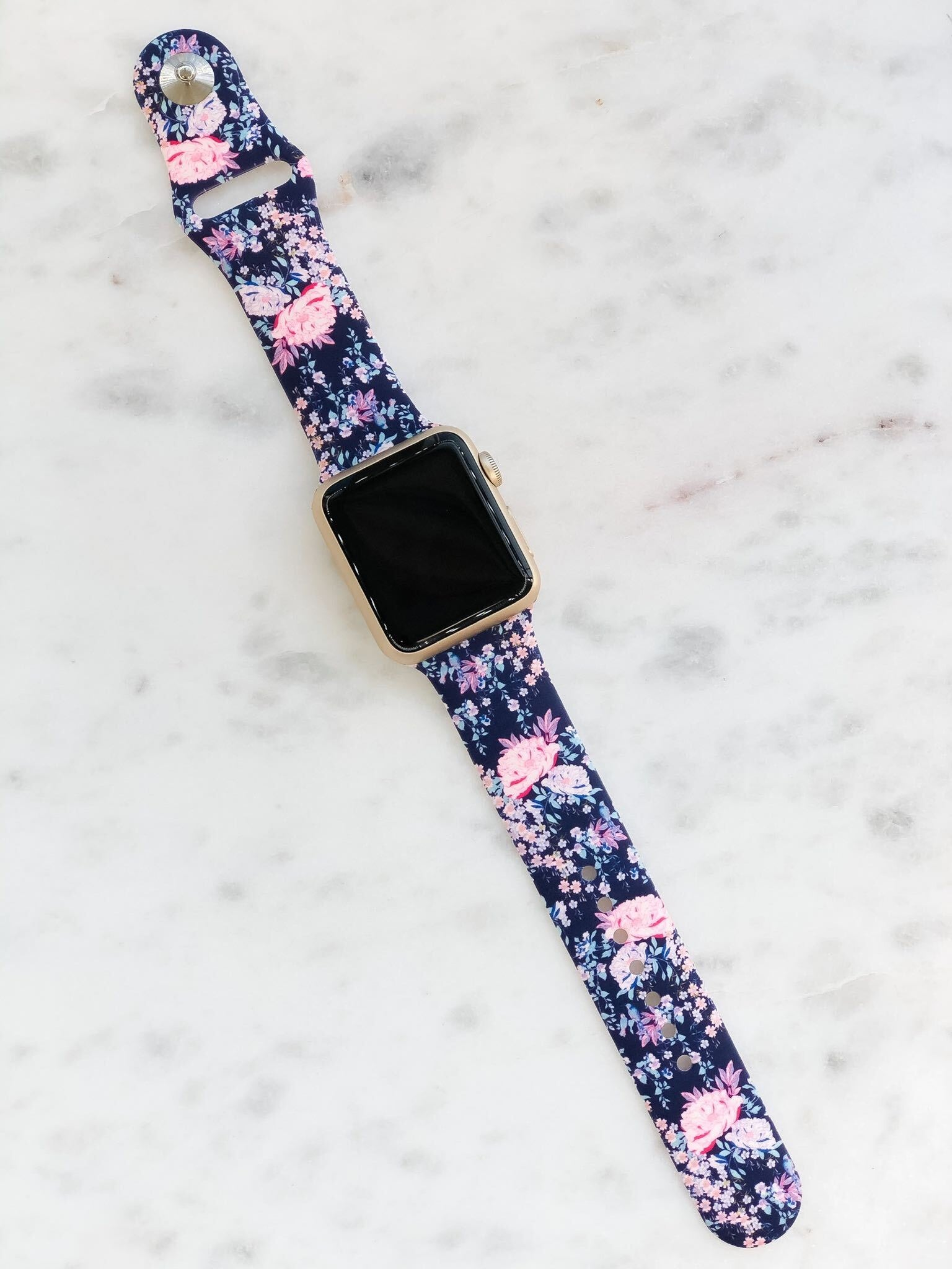 Navy Blue Floral Printed Silicone Watch Band