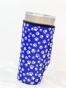 Insulated Cold Cup Sleeve with Handle - Paw Print