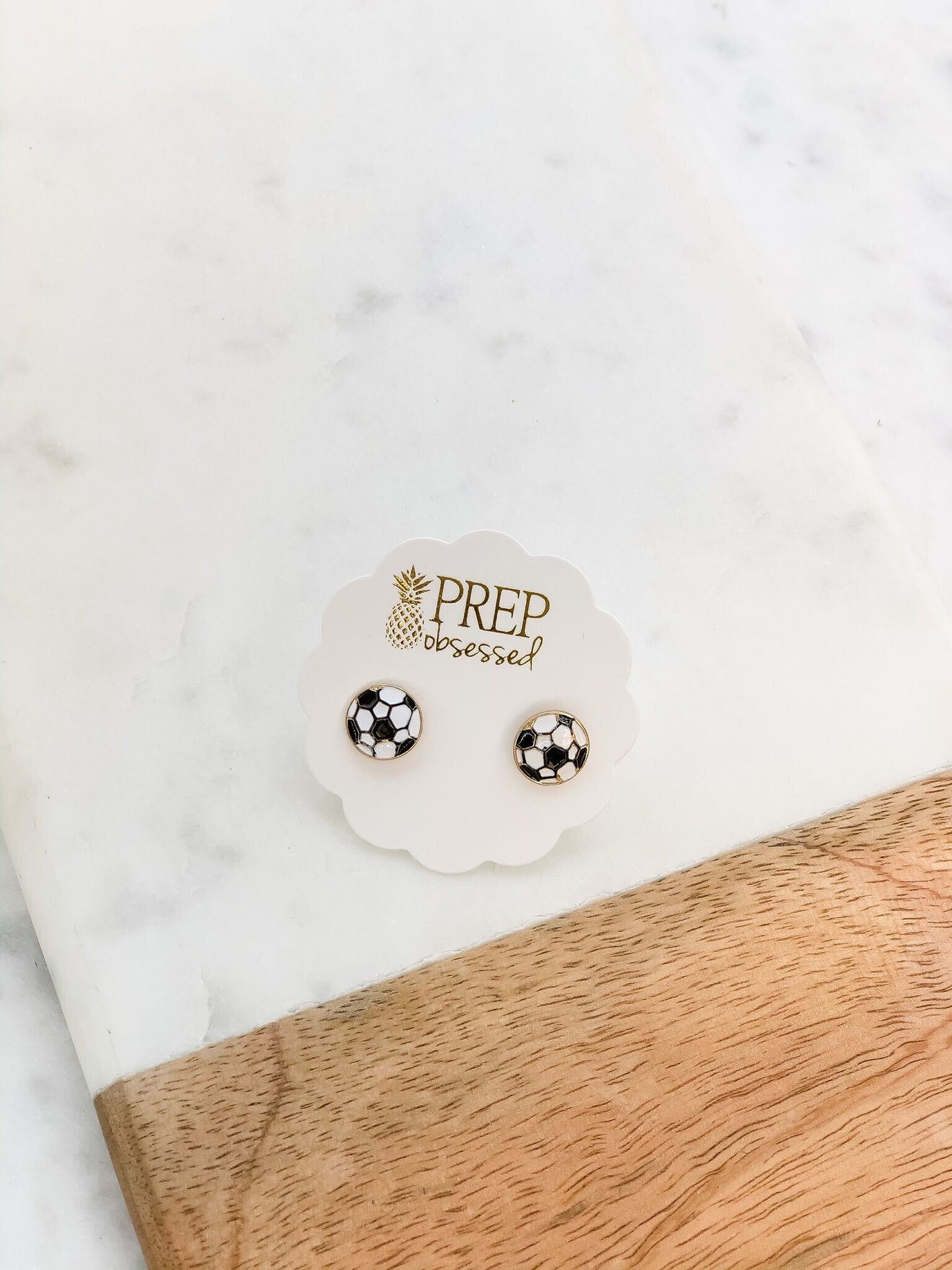 Soccer Ball Signature Enamel Studs by Prep Obsessed