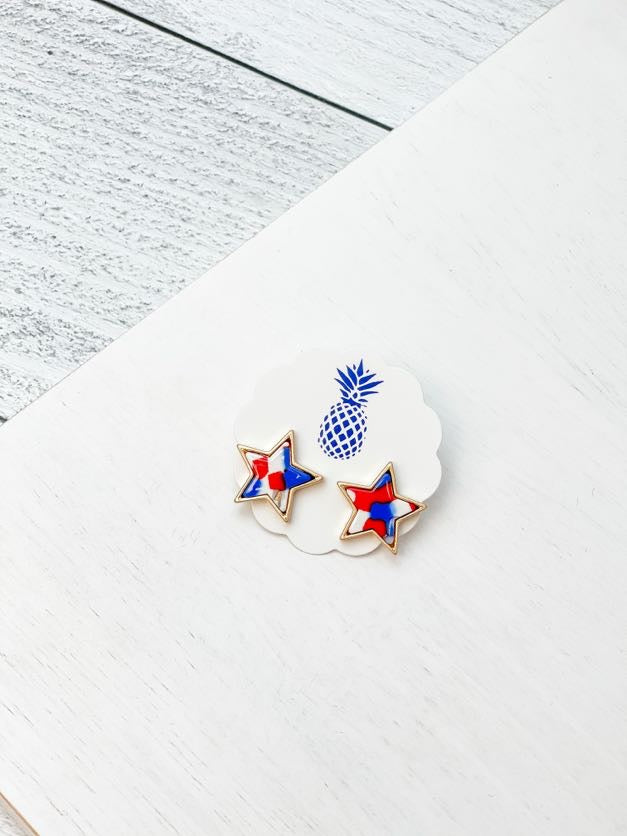 Acrylic Star Stud Earrings - Red, White, & Blue