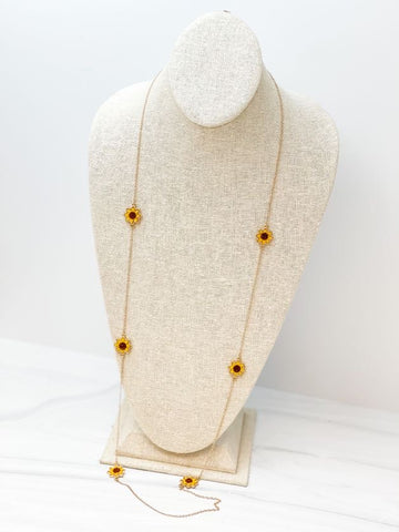 Druzy Sunflower Long Station Necklace