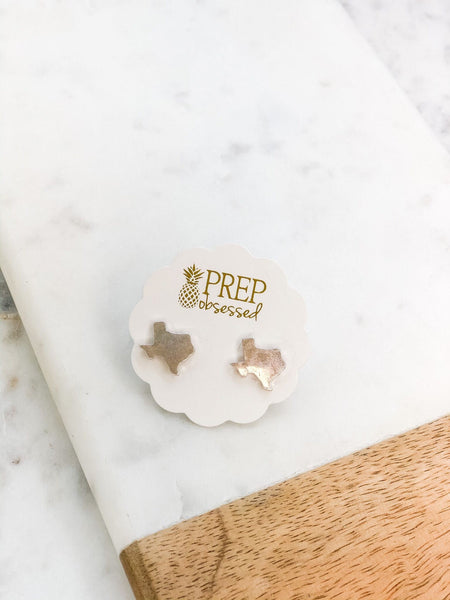 Matte Metallic State Of Texas Stud Earrings