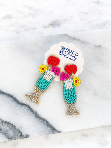 Tropical Drink Beaded Dangle Earrings