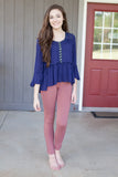 Forever Yours Top: Navy - Dixie Magnolia Boutique