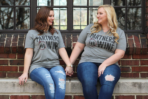 Partners In Wine Graphic Tee: Gray - Dixie Magnolia Boutique