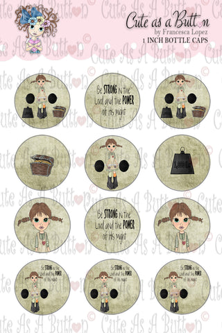 Be Strong In The Lord Bottle Caps Digital Stamp Cute As A Button