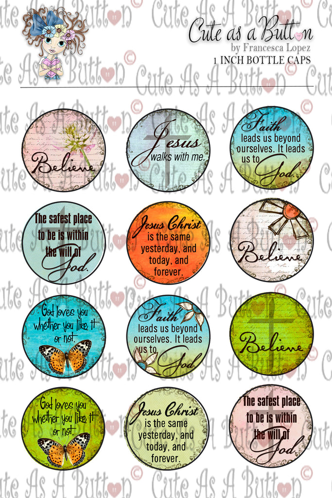 Cute As A Button Stamps BC00006 Christian Sentiments Bottle Cap/Button/Stickers 4x6