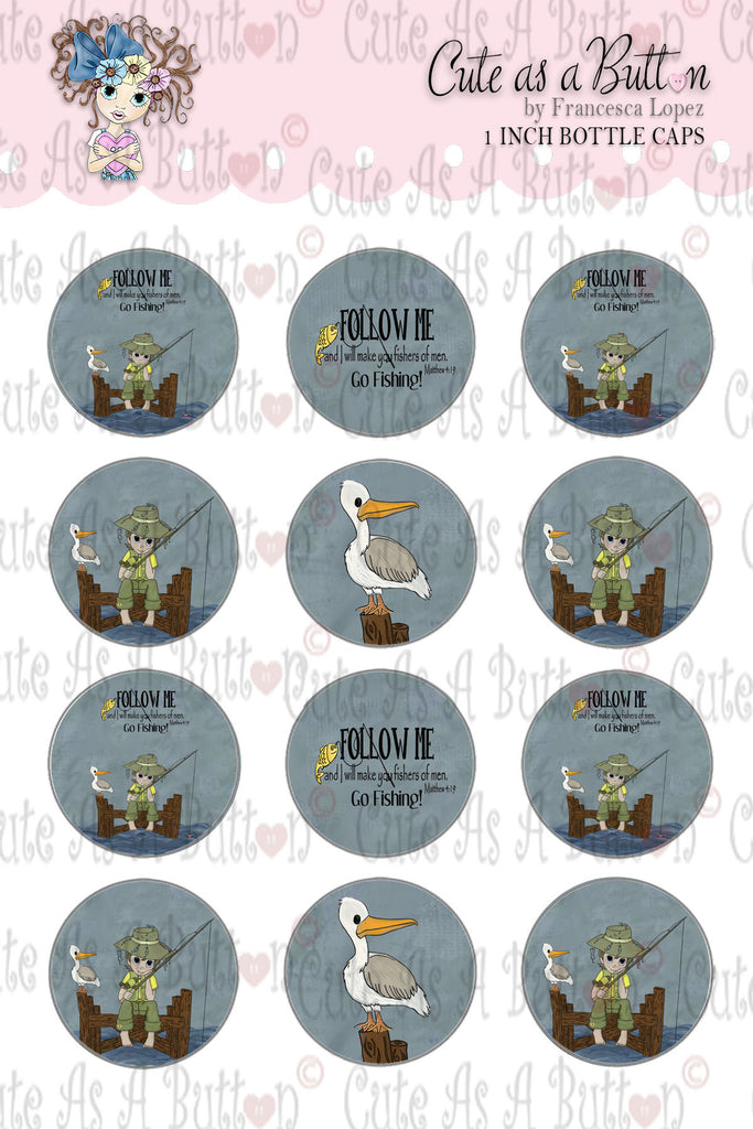 Fishers Of Men Bottle Caps by Cute As A Button Digistamps