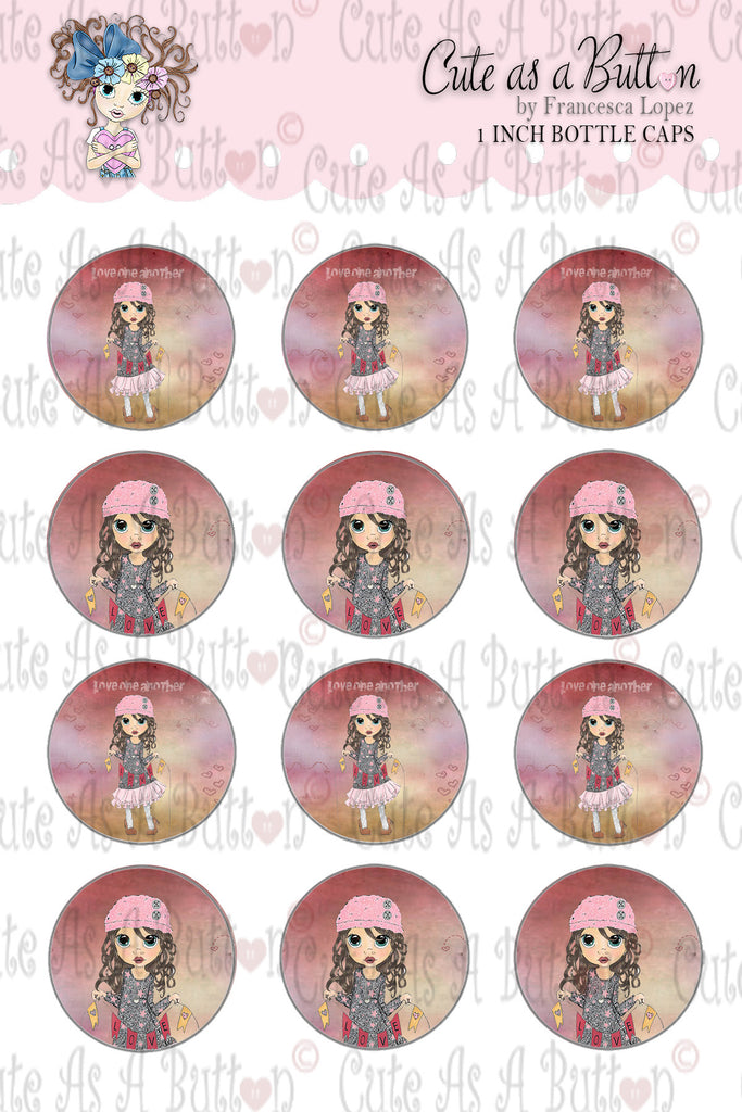 Cute As A Button Stamps BC00020 Love Banner Bottle Caps/Buttons/Stickers 4x6