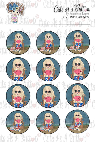 Cute As A Button Designz BC00033 Beach Holiday Bottle Caps/Buttons/Stickers 4x6