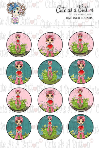 Cute As A Button Designz BC00034 Watermelon Patch Bottle Caps/Buttons/Stickers 4x6