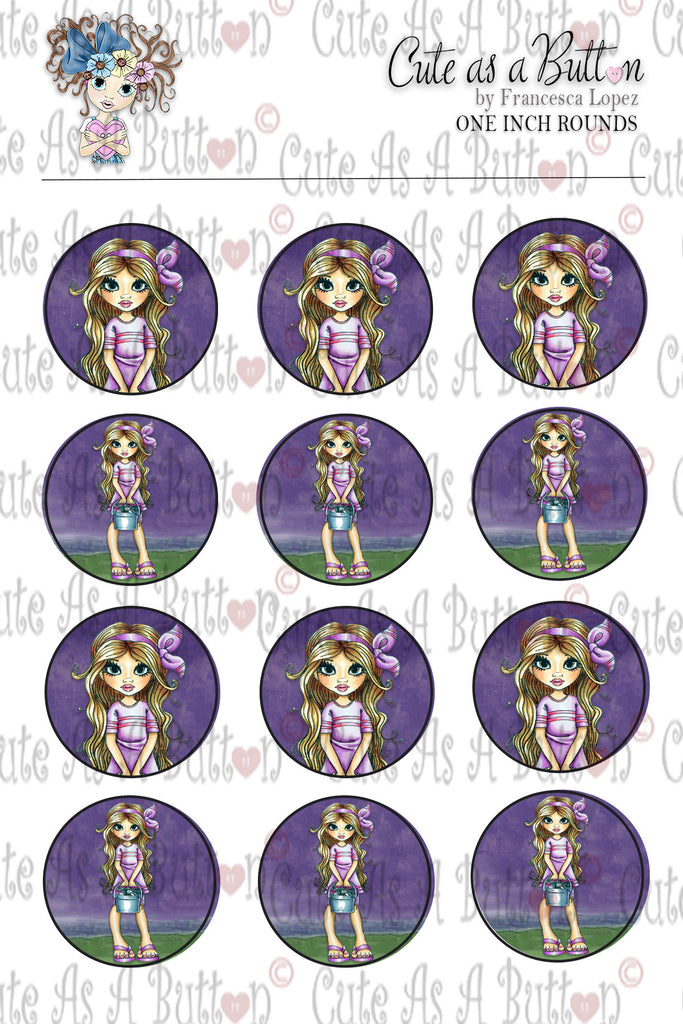 Cute As A Button Designz BC00038 Alana Shell Collector Bottle Caps/Buttons/Stickers