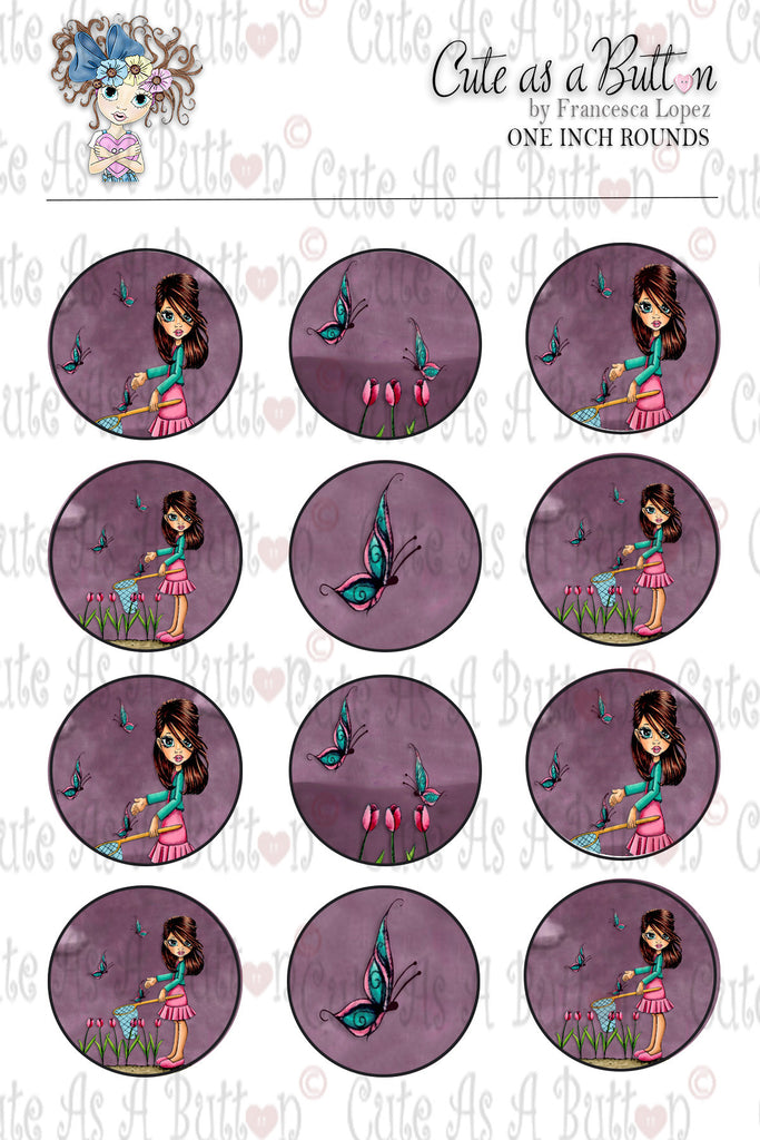 Cute As A Button Designz BC00043 Chasing Butterflies Bottle Caps/Buttons/Stickers