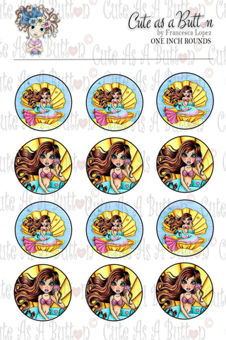 Cute As A Button Designz BC00044 Shell Phone Mermaid Bottle Caps/Buttons/Stickers
