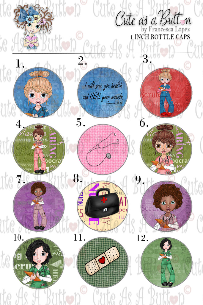 Cute As A Button Stamps BC000046 Nurse Gen Bottle Cap 4x6
