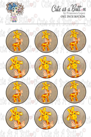 Cute As A Button Designs BC00046 Giraffe Bottle Caps/Buttons/Stickers