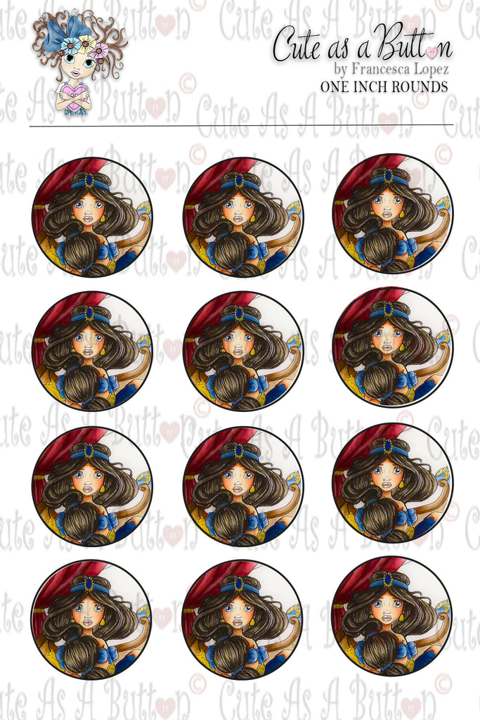 Cute As A Button Designs BC00047 Harem Girl Bottle Caps/Buttons/Stickers