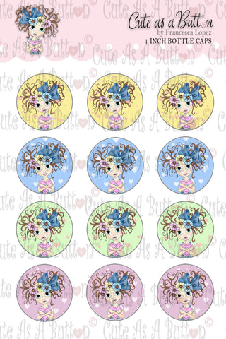 Button Love Bottle Caps by Cute As A Button Digistamps