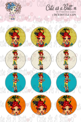 Cute As A Button Stamps BC00221 Chiquita Bottle Cap 4x6