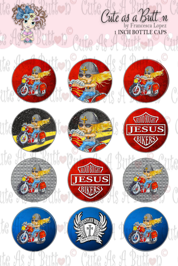 Cute As A Button Stamps BC00224 Biker Rick Cap 4x6