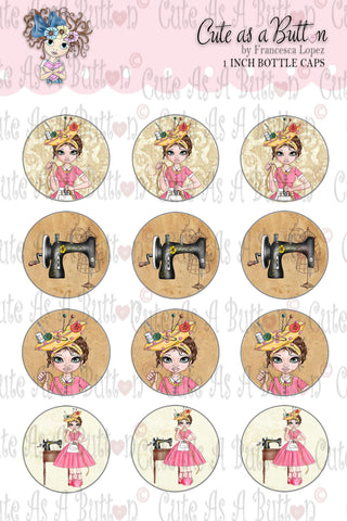 Cute As A Button Stamps BC00309 Sewing Susan Bottle Cap 4x6