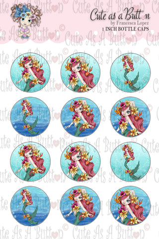 Cute As A Button StampsBC00313 Seaweed Mermaid Bottle Cap 4x6