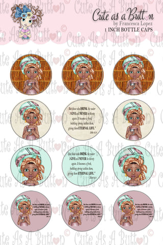 Cute As A Button Stamps BC00332 Living Water Bottle Cap 4x6