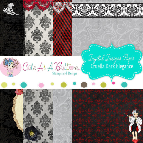 DP00006 Cruella Dark Elegance Digital Papers 6x6 by Cute As A Button Designs