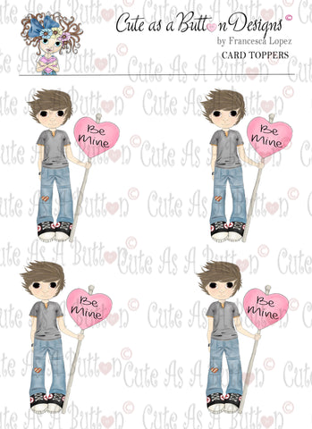 Cute As A Button Designs CT00004 Be Mine 3D Card Topper Digital Colored Download