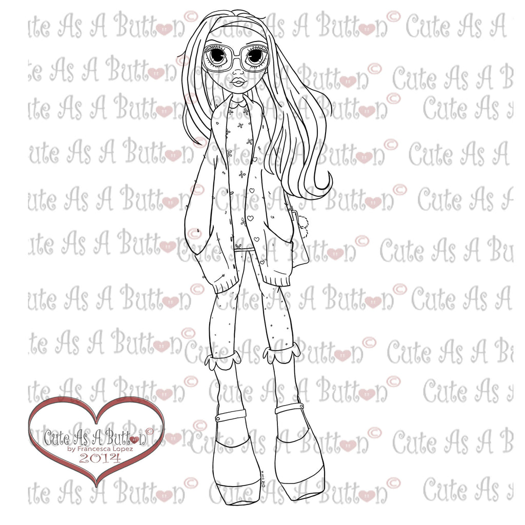 Cute As A Button Digistamp Honey Girl