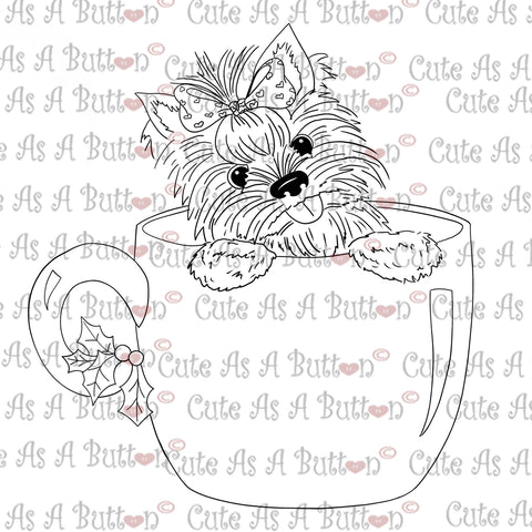 Cute As A Button Digistamps IMG0002 New Year Yorkie Sassy Digistamp