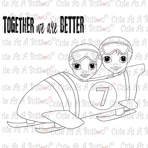 Cute As A Button Digistampsbobsled  Digi Stamp