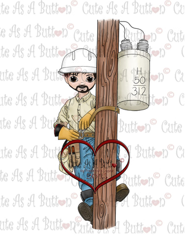 Cute As A Button Stamps Digi Stamp IMG00177 Pre-Colored Lineman-Matt Digi Stamp