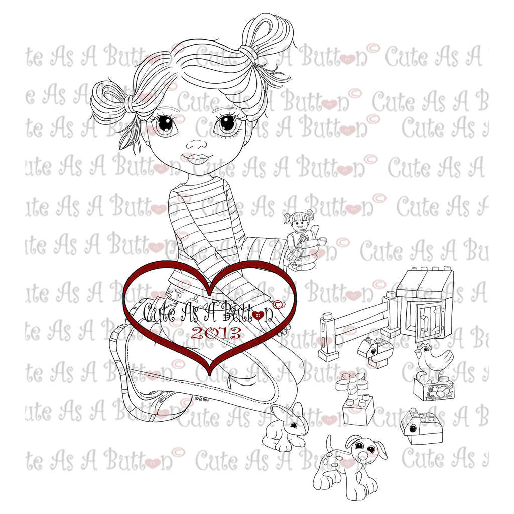 Cute As A Button Stamps Girl playing legos Digistamp