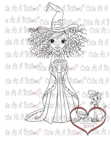 Digistamp Cute As A Button Stamp Girl in witch costume