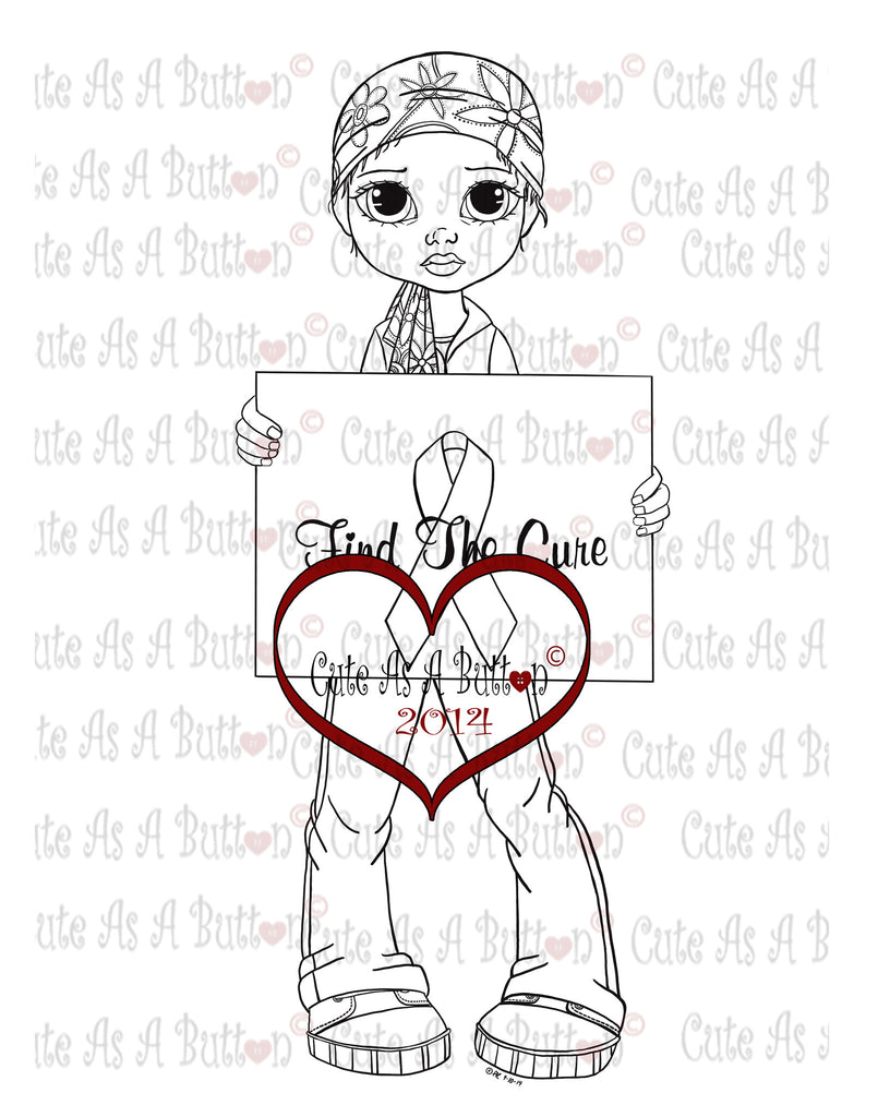 Cute As A Button Digi Stamp Find A Cancer Cure Digi Stamp
