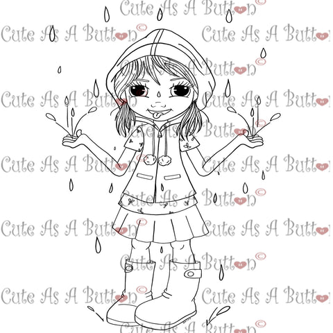Cute As A Button Digistamps Girl In the Rain