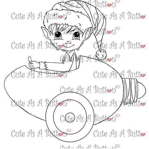 Cute As A Button Digistamps Elf in Christmas light car