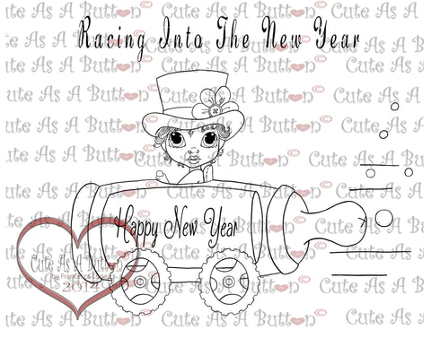 Cute As A Button Digistamps New Year Digi Stamp