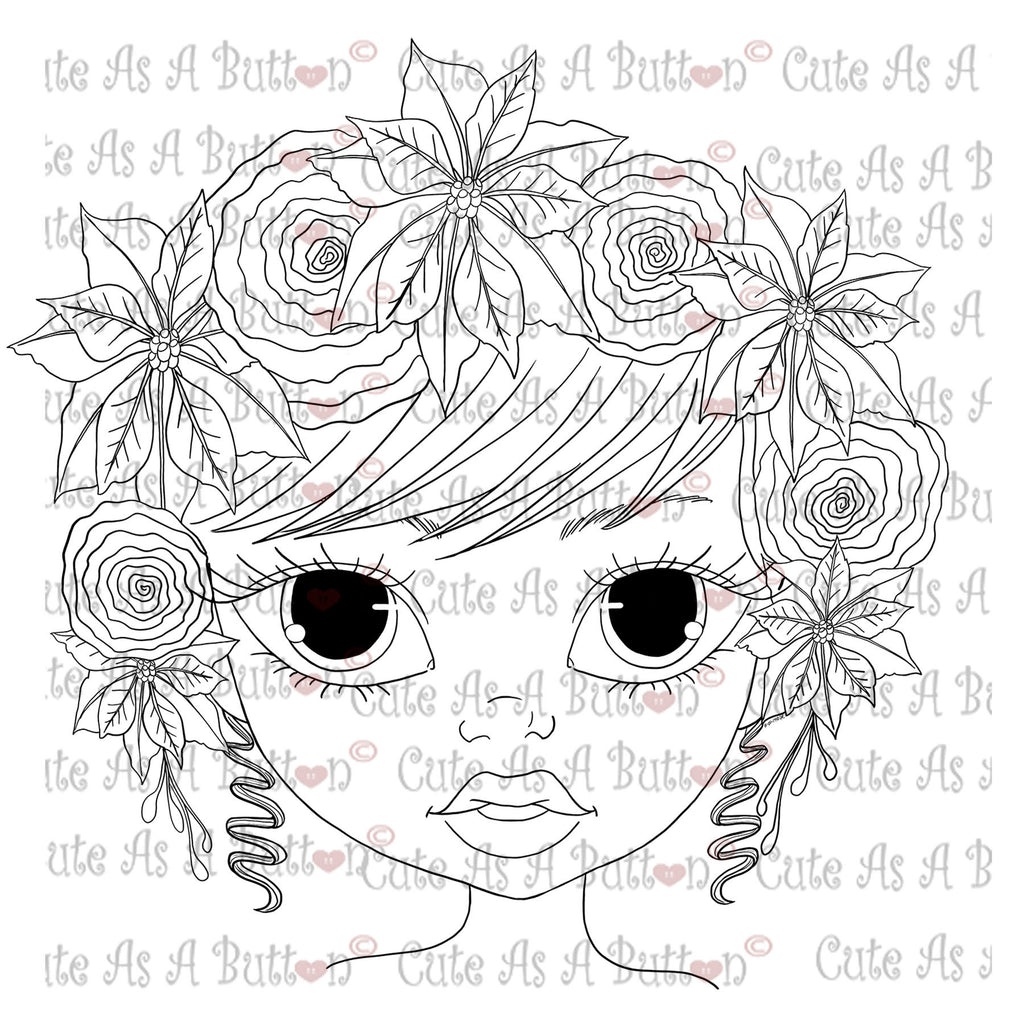 Cute As A Button Digistamp Poinsetta crown