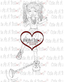 Cute As A Button Digistamp Girl playing digi stamp