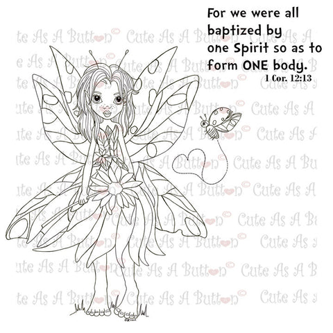 Cute As A Button Stamps Bible-Journaling Butterfly Fairy Digistamp